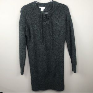 Anthro Kaisley Charcoal Gray Wool Sweater Dress